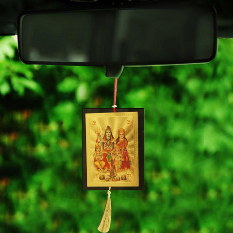 Divya Mantra Sri Shiva Parvati Ganesha Talisman Gift Pendant Amulet for Car Rear View Mirror Decor Ornament Accessories/Good Luck Charm Protection Interior Wall Hanging Showpiece - Divya Mantra