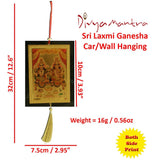 Divya Mantra Sri Laxmi Ganesha Talisman Gift Pendant Amulet for Car Rear View Mirror Decor Ornament Accessories/Good Luck Charm Protection Interior Wall Hanging Showpiece