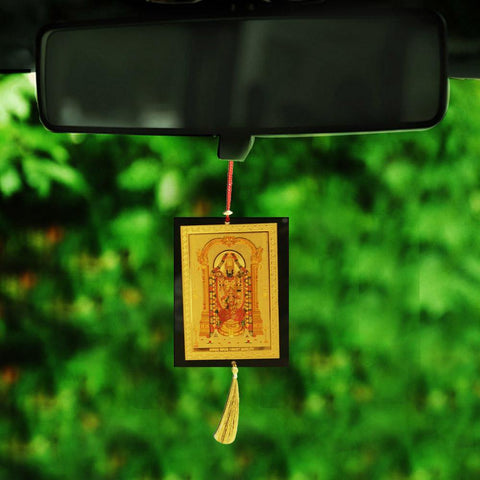 Divya Mantra Sri Tirupati Balaji Talisman Gift Pendant Amulet for Car Rear View Mirror Decor Ornament Accessories/Good Luck Charm Protection Interior Wall Hanging Showpiece - Divya Mantra