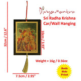 Divya Mantra Sri Radha Krishna Talisman Gift Pendant Amulet for Car Rear View Mirror Decor Ornament Accessories/Good Luck Charm Protection Interior Wall Hanging Showpiece - Divya Mantra