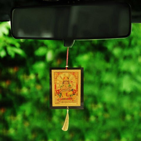 Divya Mantra Sri Ganesha Talisman Gift Pendant Amulet for Car Rear View Mirror Decor Ornament Accessories/Good Luck Charm Protection Interior Wall Hanging Showpiece - Divya Mantra