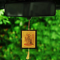Divya Mantra Sri Radha Krishna Talisman Gift Pendant Amulet for Car Rear View Mirror Decor Ornament Accessories/Good Luck Charm Protection Interior Wall Hanging Showpiece