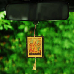 Divya Mantra Sri Laxmi Ganesh Saraswati Talisman Gift Pendant Amulet for Car Rear View Mirror Decor Ornament Accessories/Good Luck Charm Protection Interior Wall Hanging Showpiece - Divya Mantra