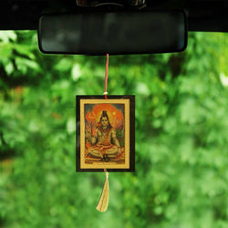 Divya Mantra Sri Shiva Talisman Gift Pendant Amulet for Car Rear View Mirror Decor Ornament Accessories/Good Luck Charm Protection Interior Wall Hanging Showpiece - Divya Mantra