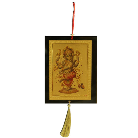 Divya Mantra Sri Dancing Ganesha Talisman Gift Pendant Amulet for Car Rear View Mirror Decor Ornament Accessories/Good Luck Charm Protection Interior Wall Hanging Showpiece - Divya Mantra
