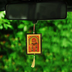 Divya Mantra Sri Sai Baba Talisman Gift Pendant Amulet for Car Rear View Mirror Decor Ornament Accessories/Good Luck Charm Protection Interior Wall Hanging Showpiece - Divya Mantra