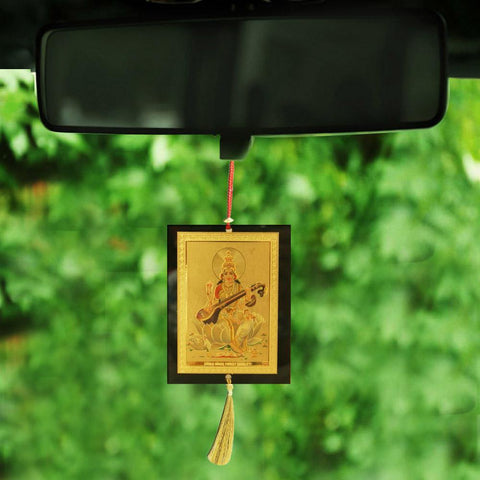 Divya Mantra Sri Saraswati Talisman Gift Pendant Amulet for Car Rear View Mirror Decor Ornament Accessories/Good Luck Charm Protection Interior Wall Hanging Showpiece