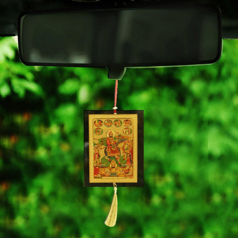 Divya Mantra Sri Shree Baba Ramdevji ki Samadhi Talisman Gift Pendant Amulet for Car Rear View Mirror Decor Ornament Accessories/Good Luck Charm Protection Interior Wall Hanging Showpiece - Divya Mantra