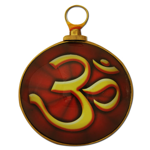 Divya Mantra Hindu Symbol Om for Good Luck, Fortune and Meditation Wall Hanging - Brass - Divya Mantra
