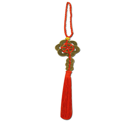 Divya Mantra Car Decoration Rear View Mirror Hanging Accessories Feng Shui Coins - Divya Mantra