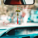Divya Mantra Chinese Feng Shui Bronze Bell with Plastic Elephant & Baby Car Rear View Mirror Decor Patio Balcony Yard Home Kitchen Window Decoration Buddha Lucky Hanging, Good Luck Symbols -Brown, Red - Divya Mantra