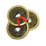 "Divya Mantra Chinese Feng Shui Antique Fortune I-Ching 2"" Coin Ornaments for Good Luck, Success & Prosperity/Ancient Tibetan Buddhist Wealth Charm Amulet Coins w/ Hole & Red Knot - Golden, Set of 2 - Divya Mantra"