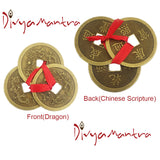 Divya Mantra Feng Shui Chinese Lucky Fortune I-Ching Dragon Coin Ornaments Wealth Charm Amulet Three Bronze Metal Coins with Hole and Red Ribbon Knot for Good Money Luck, Decoration Charms – Golden - Divya Mantra