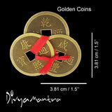 Divya Mantra Feng Shui Chinese Lucky Fortune I-Ching Dragon Coin Ornaments Wealth Charm Amulet 3 Bronze Metal Coins with Hole & Red Ribbon Knot for Good Money Luck, Decoration Charms Set of 2 – Golden - Divya Mantra