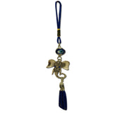 Divya Mantra Decorative Evil Eye Ganesha Pendant Amulet for Car Rear View Mirror Decor Ornament Accessories/Good Luck Charm Protection Interior Wall Hanging Showpiece - Blue, Set of 3 - Divya Mantra