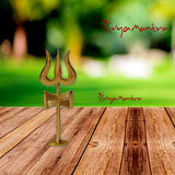 Divya Mantra Traditional Trishul (Trident) Damru with Stand Brass Statue For Car Dashboard / Puja Ghar - Divya Mantra