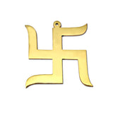 Divya Mantra Hindu Lucky Symbol Swastik Pure Brass Wall Hanging For Vastu and Good Luck and Three Chinese Coins Combo of 3 Set For Luck - Divya Mantra