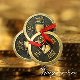Divya Mantra Feng Shui Chinese Lucky Fortune I-Ching Dragon Coin Ornaments Wealth Charm Amulet 3 Bronze Metal Coins with Hole & Red Ribbon Knot-Good Money Luck, Decoration Charms Set of 6–Gold, Copper - Divya Mantra