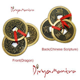 Divya Mantra Feng Shui Chinese Lucky Fortune I-Ching Dragon Coin Ornaments Wealth Charm Amulet 3 Bronze Metal Coins with Hole & Red Ribbon Knot for Good Money Luck, Decoration Charms Set of 7 – Copper - Divya Mantra