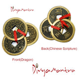Divya Mantra Feng Shui Chinese Lucky Fortune I-Ching Dragon Coin Ornaments Wealth Charm Amulet 3 Bronze Metal Coins with Hole & Red Ribbon Knot for Good Money Luck, Decoration Charms Set of 3 – Copper - Divya Mantra