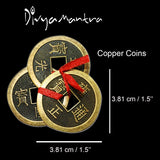 Divya Mantra Feng Shui Chinese Lucky Fortune I-Ching Dragon Coin Ornaments Wealth Charm Amulet 3 Bronze Metal Coins with Hole & Red Ribbon Knot for Good Money Luck, Decoration Charms Set of 2 – Copper - Divya Mantra