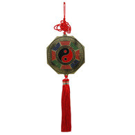 Divya Mantra Feng Shui Yin Yang & Fu Dog Bagua Double Sided Metallic Wall Hanging for Protection and Good Luck
