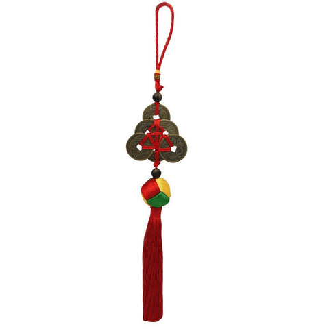Divya Mantra Car Decoration Rear View Mirror Hanging Accessories Feng Shui Lucky Coins & Chinese Button Stopper Knot - Divya Mantra