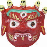 Divya Mantra Traditional Nazar Katta Mahakal Evil Eye Protector Vastu Wall Hanging Mount/Tibetan Buddhism Feng Shui Art Antique Decorative Metal Sculpture Face Mask Red