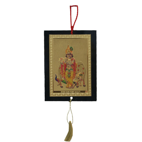 Divya Mantra Sri Shri Krishna Talisman Gift Pendant Amulet for Car Rear View Mirror Decor Ornament Accessories/Good Luck Charm Protection Interior Wall Hanging Showpiece - Divya Mantra