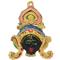 Divya Mantra Traditional Evil Eye Protector Vastu Wall Hanging Mount Art Antique Decorative Metal Sculpture Face Mask Kali Maa - Divya Mantra