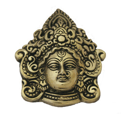 Divya Mantra Traditional Evil Eye Protector Vastu Wall Hanging Mount Art Antique Decorative Metal Sculpture Face Mask Kali Maa in Pure Brass - Divya Mantra