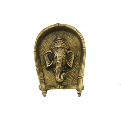 Divya Mantra Traditional Wall Hanging Mount Art Antique Decorative Metal Sculpture Shri Ganesha Face in Pure Brass