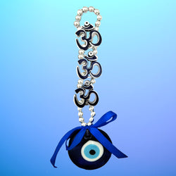 Divya Mantra Decorative Evil Eye Triple Om Pendant Amulet for Car Rear View Mirror Decor Ornament Accessories/Good Luck Charm Protection Interior Wall Hanging Showpiece Blue - Divya Mantra