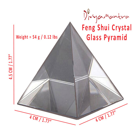 Divya Mantra Feng Shui Crystal Glass Pyramid For Spiritual Healing, Vastu Correction and Balancing - 4 cm - Divya Mantra