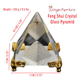 Divya Mantra Feng Shui Crystal Glass Pyramid with Golden Stand For Spiritual Healing, Vastu Correction and Balancing - 7 cm - Divya Mantra