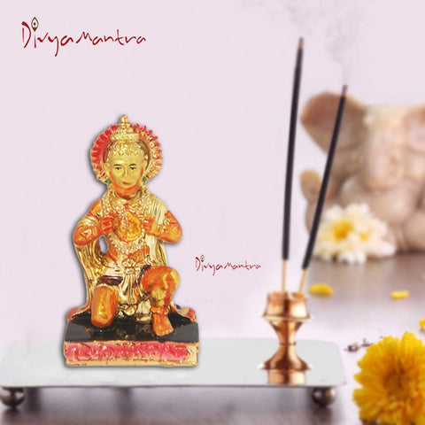 Divya Mantra Hindu God Hanuman Idol Sculpture Statue Murti For Puja / Car Dashboard - Divya Mantra