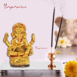 Divya Mantra Hindu God Ganesha Reading Book Idol Sculpture Statue Puja / Car Dashboard Murti For Success in Education Career
