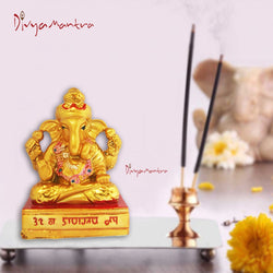 Divya Mantra Hindu God Ganesha Idol Sculpture Statue Puja / Car Dashboard Murti For Good Luck Financial Prosperity