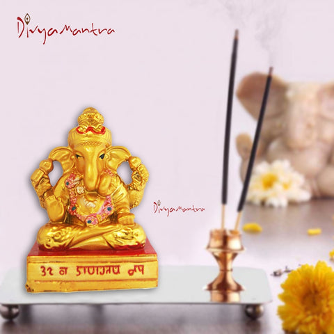 Divya Mantra Hindu God Ganesha Idol Sculpture Statue Puja / Car Dashboard Murti For Good Luck Financial Prosperity - Divya Mantra
