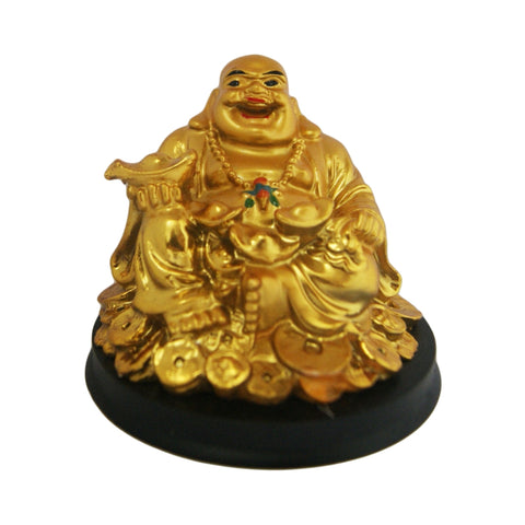 Divya Mantra Happy Man Laughing Buddha Holding Ingot Statue For Attracting Money Wealth Prosperity Financial Luck