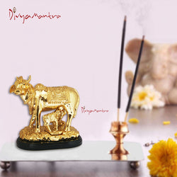 Divya Mantra Hindu Sri Kamdhenu Gayatri Wish Fulfilling Holy Cow with Calf Statue Decor Health Wealth Good Luck Happiness; Interior Living Room / Decoration Showpiece For Home / Office Showpiece Gift