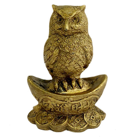 Divya Mantra Feng Shui Owl on Ingot and Wealth Coins for Education Career Success Abundance Prosperity Luck