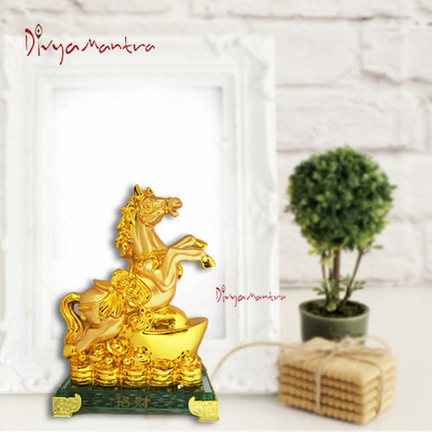 Divya Mantra Feng Shui Yang Horse on Ingot and Wealth for Success Fame Popularity and Money Luck - Divya Mantra