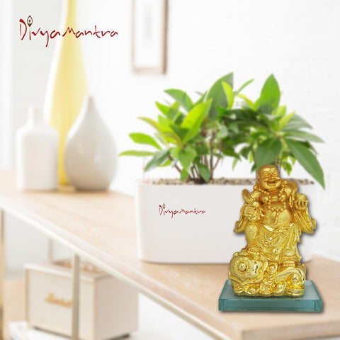 Divya Mantra Happy Man Laughing Buddha Standing on Ingots Wealth For A