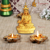 Divya Mantra Golden Lady Buddha / Guan Yin / Kwan Yin / Kuan Yin / Tara Devi Goddess of Mercy and Compassion Idol Sculpture Statue Murti - Divya Mantra