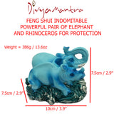 Divya Mantra Feng Shui Indomitable Powerful Animals Pair Elephant and Rhinoceros For Protection Against Violent 7 Star and Good Luck - Divya Mantra