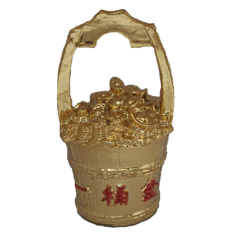 Divya Mantra Feng Shui Gold Ingot Yuan Bao Overflowing Wealth Bucket Pot For Abundance Financial Prosperity Luck