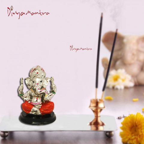Divya Mantra Hindu God Ganeshji Murti Sculpture Statue Puja / Car Dashboard Idol For Good Luck Financial Prosperity Orange - Divya Mantra