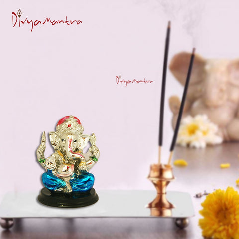 Divya Mantra Hindu God Ganeshji Murti Sculpture Statue Puja / Car Dashboard Idol For Good Luck Financial Prosperity Blue