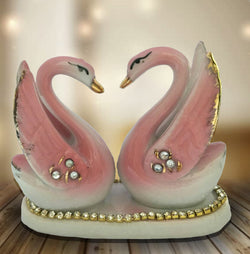 Divya Mantra Vastu Feng Shui Love Birds Pair of Ceramic Swans Decor Gift Figurine - Divya Mantra